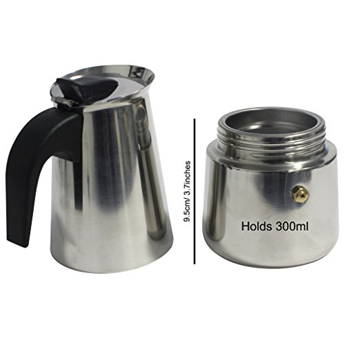 KurtzyTM 6 Cup Stainless Steel Espresso Coffee Cup Maker Italian Style Stove Top Pot