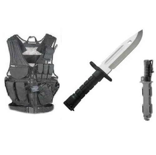Ultimate Arms Gear Stealth Black Lightweight Edition Tactical Scenario Military-Hunting Assault Vest W/ Right Handed Quick Draw Pistol Holster + Stealth Black Handle Stainless Steel M9 M-9 Military Survival Blade Bayonet Knife With Tactical Sheath Scabbar