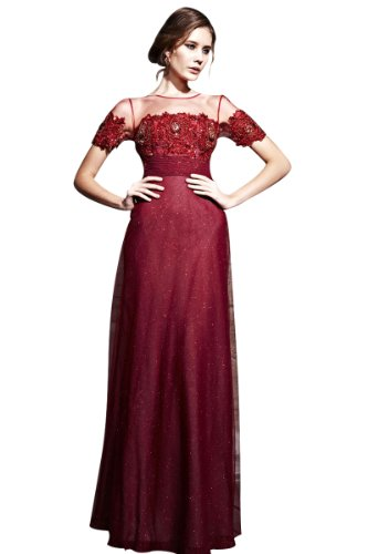 CharliesBridal Bateau Neck Long Evening Dress with Short Sleeves - XL - Burgundy
