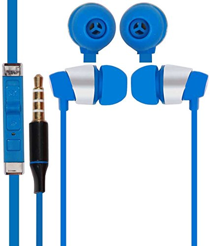 Classic Color Earphones HeadSet Headphone 3.5mm In ear with Mic For Micromax Yu Yureka AO5510 -SkyBlue