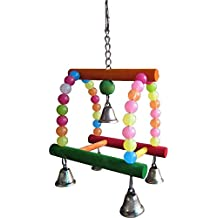 KSK Natural Parrot/Bird Multi-colored Hanging Toy Swing For Pets Bird (Medium)