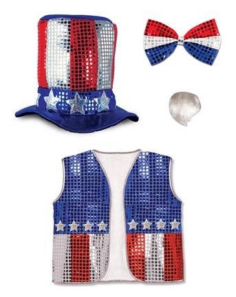 Uncle Sam Set- Vest, Top Hat, Bowtie and Beard