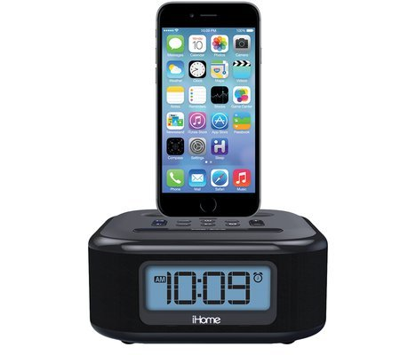 ihome ipl23 stereo fm clock radio with lightning dock charge play for iphone 5 5s 6 6plus 6s. Black Bedroom Furniture Sets. Home Design Ideas
