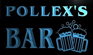 w102016 b POLLEX Name Home Bar Pub Beer Mugs Cheers Neon Light Sign