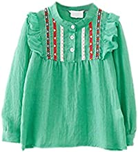 ROPALIA Girls Cotton Blends Embroidered Long Sleeve Tee Ruffle Loose Tops 1-6Y