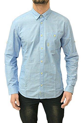 Duck and Cover -  Camicia Casual  -  Vestito modellante  - Maniche lunghe  - Uomo azzurro Large