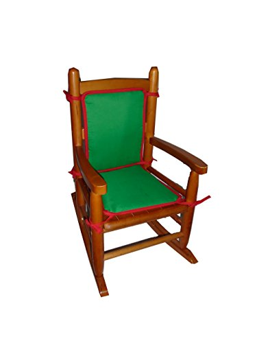 Baby Doll Holiday Solid Reversible Junior Rocking Chair Pad, Green/Red - 1