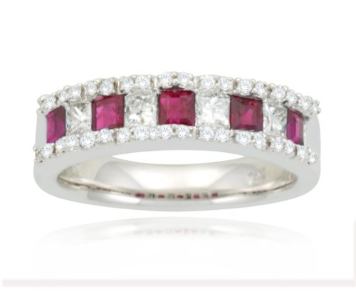 14k White Gold Classic Ruby Diamond Ring (3/5 cttw, I-J Color, SI2 Clarity), Size 6