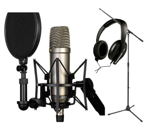 Rode Nt1-A Cardioid Condenser Microphone Recording Package With Sennheiser Hd 202-Ii Closed-Back Around-The-Ear Studio Headphones And A Tripod Base Microphone Floor Stand - Black