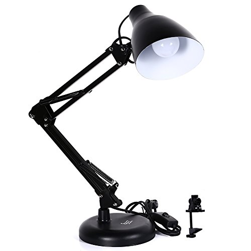 Mr.Lighting 2-in-1 Metal Swing Arm LED Desk Lamp with Clamp-on Base, 5W E27 LED Bulb Included, Daylight White, Black Finish (Desk Lamp Mounting Bracket compare prices)