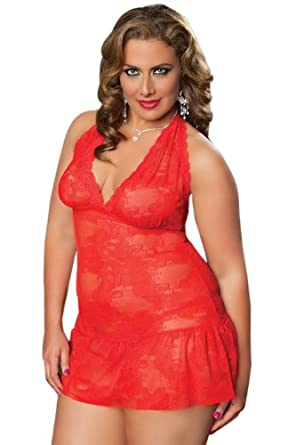 Seven Til Midnight Women's Plus Size Closed Doors Chemise, Red, QueenSize