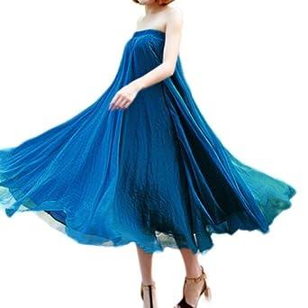 Zehui Womens Full Circle Chiffon Long Maxi Skirt Pleated Long Dress Boho Peacock Blue