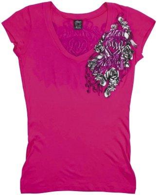 MSR Metal Mulisha Royal Flush Ladies T-Shirt Royal Flush Hot Pink Extra Large XL 886152960993