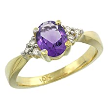 buy 10K Yellow Gold Natural Amethyst Ring Oval 7X5Mm Diamond Accent, Size 7