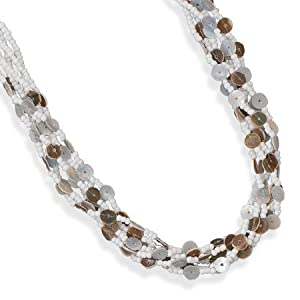 Silver 18 Inch + 1.5 Inch Extention 6 Strand Glass Bead Fashion Necklace Shell Nickel Free Lead Free