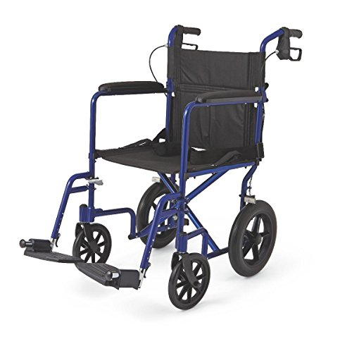 Medline Deluxe 12 Inch Wheels Transport Lightweight Wheelchair – Great for Outdoors – Blue
