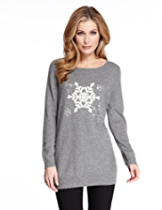 M&S Collection Pure Cashmere Snowflake Jumper MADE WITH SWAROVSKI® ELEMENTS