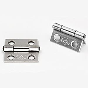 Adiyer [10 Pack] 304 Stainless Steel Butt Hinges for Cabinet Cupboard Jewelry Box (25mm x 18.5mm x 0.8mm) (Color: Silver Tone, Tamaño: 25mm x 18.5mm x 0.8mm)