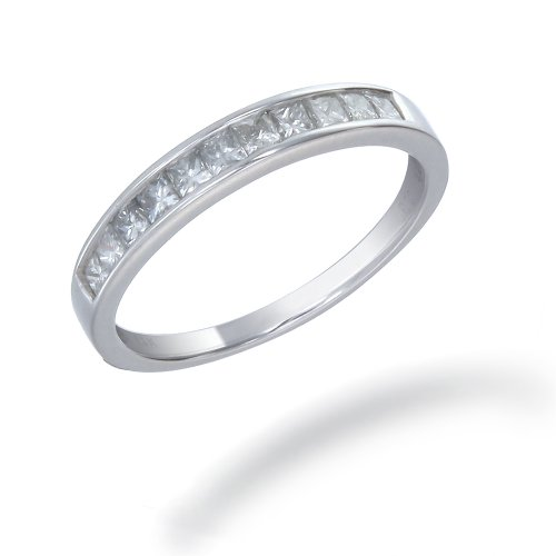 1/2 CT Princess Cut Diamond Wedding Band 14K White Gold (I1-I2 Clarity) (Available In Sizes J - T)