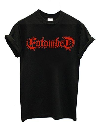 T-shirt Uomo - Entombed maglietta con stampa rock metal 100% cotonee LaMAGLIERIA,L,Nero