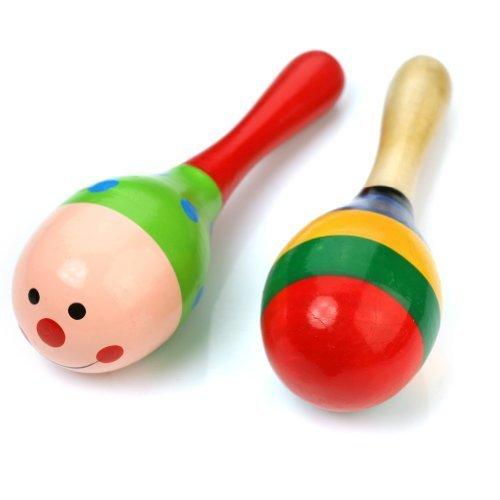 2 Holz Maraca Rasseln Percussion Kinder Baby Musikspielzeug - Stil 1