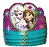 8 Pack of Disney Frozen Tiaras Paper Crowns Party Supply with Anna & Elsa