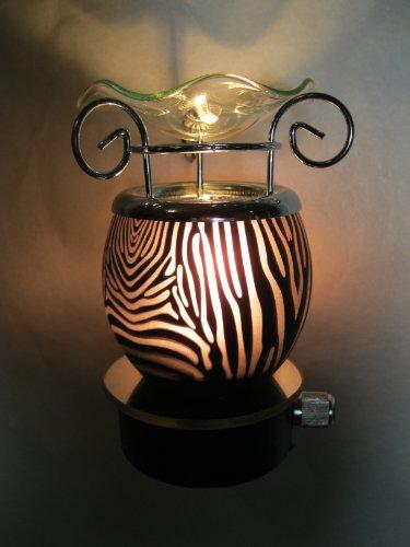 Black And Gray Zebra Animal Design Decorative Glass Electric Plug-In Fragrance Lamp Aromatherapy Oil Warmer/Burner Night Light In Gift Box # Mt-051