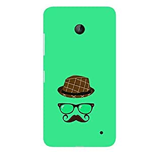 Skin4gadgets Hipster Pattern- Hat, Glasses, Mustache, Color - Medium Spring Green Phone Skin for LUMIA 630