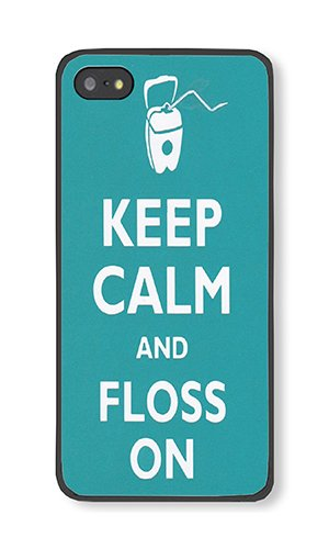 iPhone 5/5S/SE Case AOFFLY® Keep Calm And Floss On Dental Hygiene Balck Rubber Soft Case For iPhone 5/5S/SE TPU Case