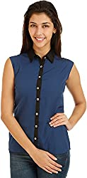 Bhama Couture Women's Button Down Shirt (Blue, 40)