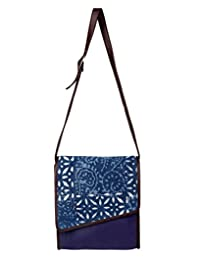 Traditional Cotton Floral Sling Bag Blue Printed For Women By Rajrang