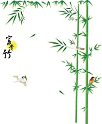 Giant Green Lucky Bamboos and Birds Wall Sticker Decals