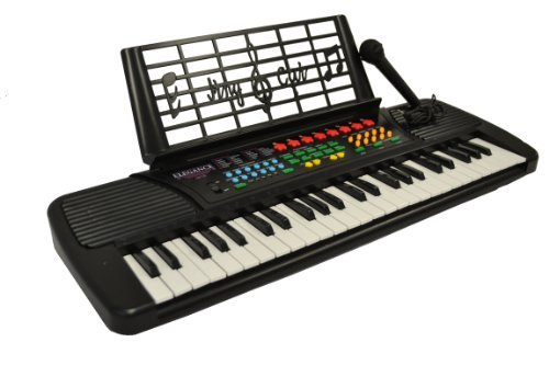 49 Keys Kids Keyboard Beginners Digital Piano with Free Microphone & Note Holder - Black & DirectlyCheap(TM) Translucent Blue Medium Pick