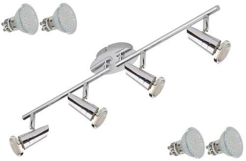 Trango® TG2001-048 LED Deckenleuchte 4-flammig inkl. 4x GU10 LED 3000K Warm-Weiß Leuchtmittel, Deckenstrahler Schiene Spots mit Gelenken