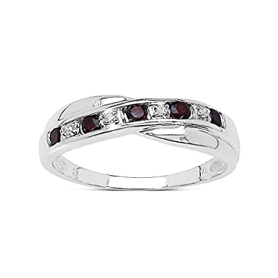 The Garnet Ring Collection: Garnet & Diamond Channel Set Crossover Eternity Ring in Sterling Silver