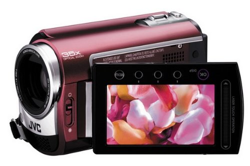 JVC GZ-MG330R Slim HDD/microSD Hybrid Camcorder With Konica Minolta Lens (35x Optical Zoom)