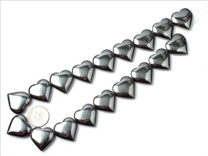 20mm heart Black Hematite beads strand 15