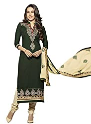 Sheknows Green Pure Cotton Embroidered Dress Material