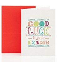 Holographic Good Luck Exams Greetings Card