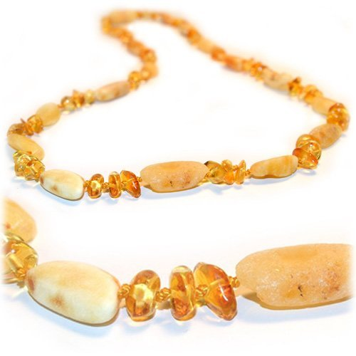 The Art of Cure Baltic Amber Teething Necklace - FTIR Lab Tested Authentic Amber (Raw & Polished Lemon Color)