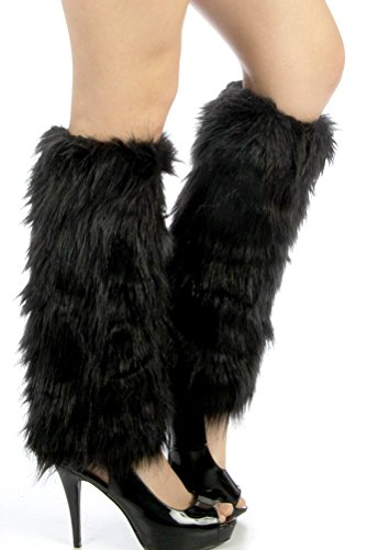 Dizanne Fashion Chic Leg Warmers - Furry frost faux fur boot covers Black