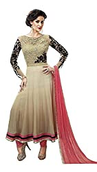 Vivan Feb Ethnic Embroidered Beige And Black Georgette Party Wear Free Size Anarkali Salwar Suit Dupatta Semi Stitched Dress Material