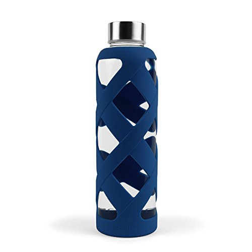 Lowest Prices! Aquasana AQ-WB-NAVY 550 ML Premium Borosilicate Glass Bottle with Silicone Sleeve, Na...