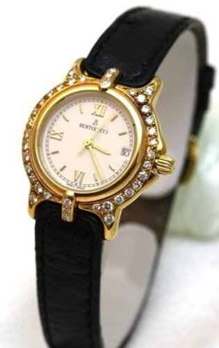 Bertolucci Mini Vir Solid 18k Gold Diamond Bezel Leather Strap Swiss Women's Watch