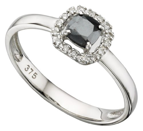 Elements White Gold Hematite & Diamond Cushioned Shaped Cluster Ring - O1/2
