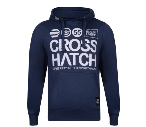 Mens CrossHatch Over Head Hoodie With Large Logo Print To Front. Style Name - Wentworth. In Dark Denim Size - Small