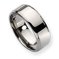 Chisel Beveled Edge Polished Titanium Ring (8.0 mm) - Sizes 6-13