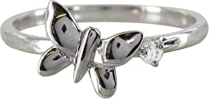 Stack Ring Co Sterling Silver Rhodium Plated Butterfly and Cubic Zirconia Stack Ring - Size O