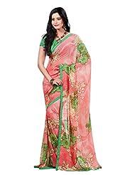 Indian Designer Sari Chic Floral Printed Faux Georgette Saree By Triveni