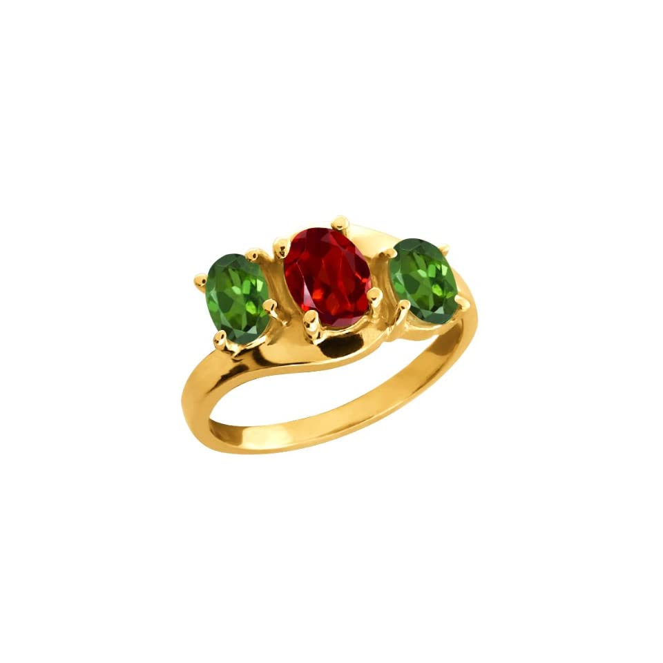 1.70 Ct Oval Red Garnet and Green Tourmaline 10k Yellow Gold Ring